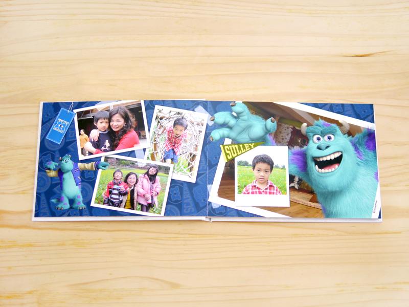 怪獸大學內頁設計好精采,只要簡單拖拉照片,就可擁有最特別的怪獸大學相片書